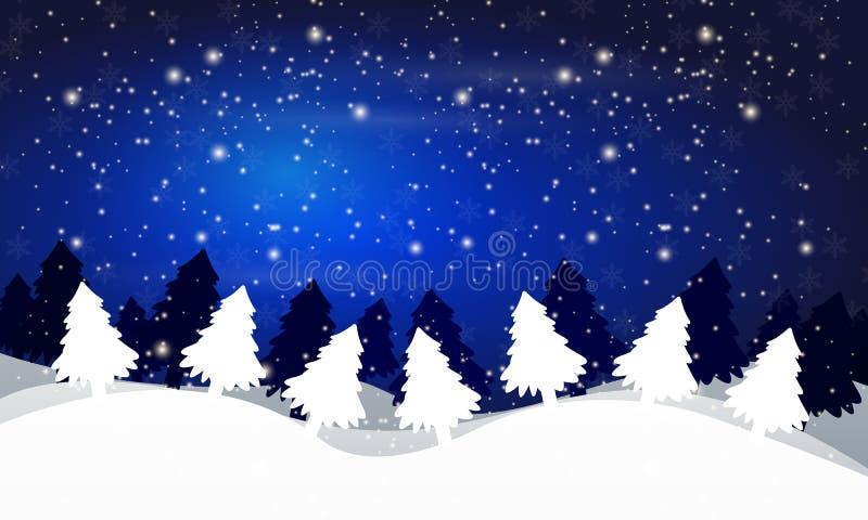 Χειμερινό τοπίο των δέντρων ενάντια στο νυχτερινό ουρανό διανυσματική απεικόνιση