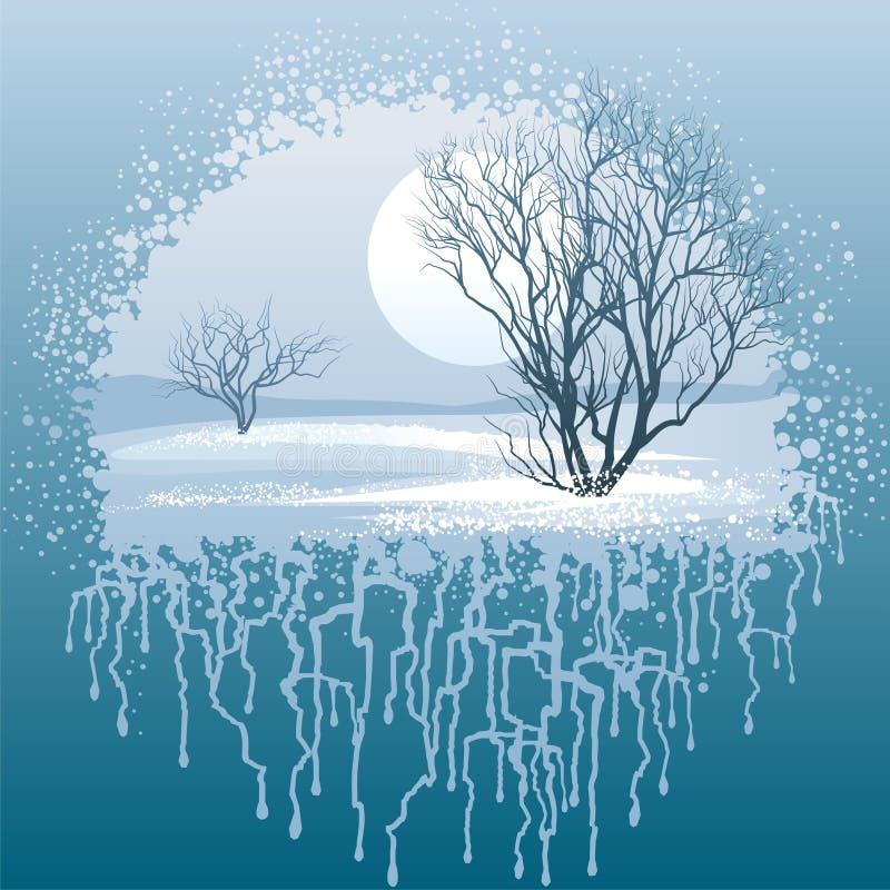 Χειμερινό τοπίο διανυσματική απεικόνιση