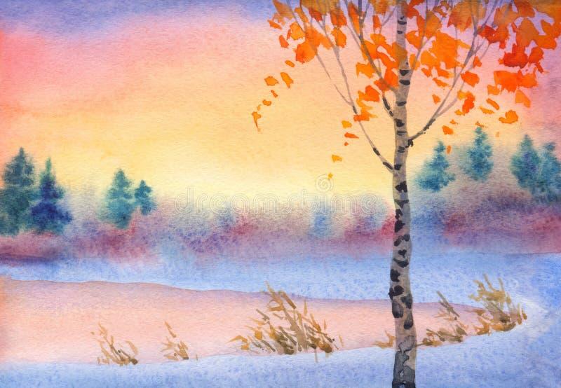Χειμερινό τοπίο Watercolor Ουρανός βραδιού πέρα από τη λίμνη ελεύθερη απεικόνιση δικαιώματος