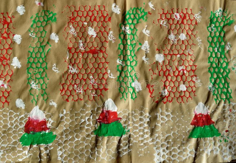 Χειμερινό τυλίγοντας έγγραφο Χριστουγέννων διακοπών τεχνών παιδιών στοκ φωτογραφία με δικαίωμα ελεύθερης χρήσης