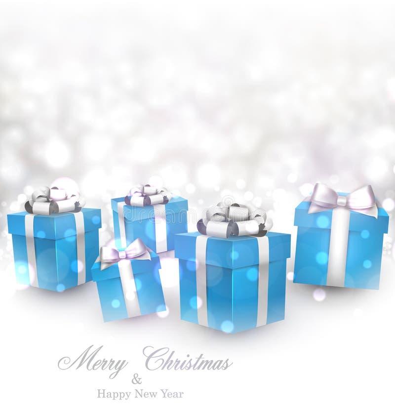 Χειμερινό υπόβαθρο με τα μπλε δώρα Χριστουγέννων ελεύθερη απεικόνιση δικαιώματος