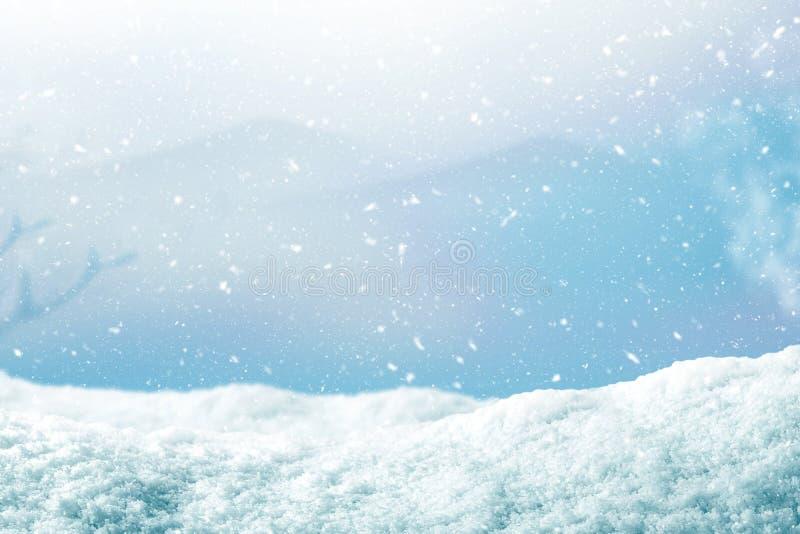 Χειμερινό υπόβαθρο με την πτώση χιονιού ο υπολογιστής Χριστουγέννων ανασκόπησης παρήγαγε το ευτυχές εύθυμο νέο διανυσματικό έτος  στοκ φωτογραφία