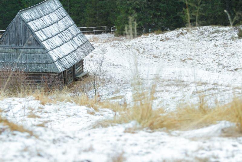 Χειμερινό χιονώδες τοπίο με την παραδοσιακή καμπίνα κούτσουρων και στέγη κουνημάτων στο δάσος στοκ εικόνες