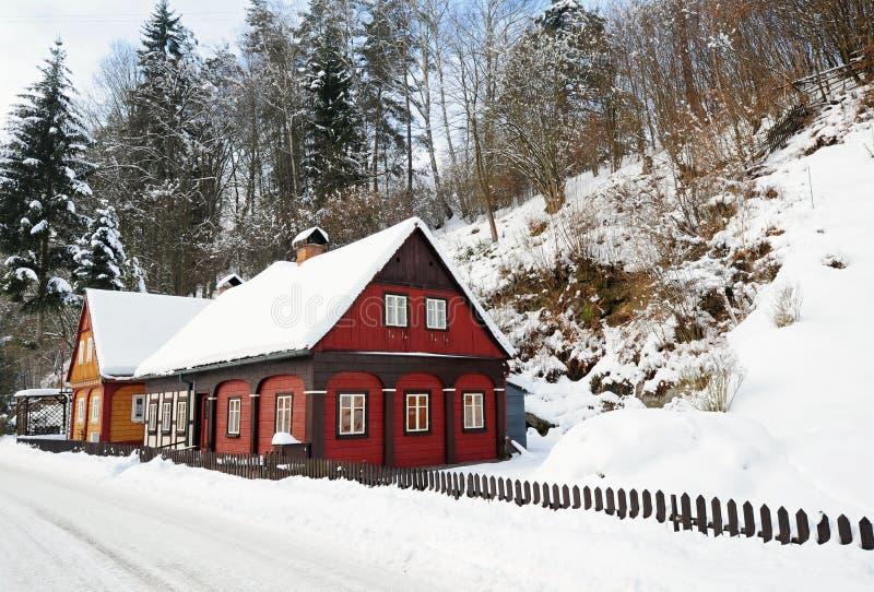 Χειμερινό χωριουδάκι της Βοημίας Ελβετίας στοκ εικόνα