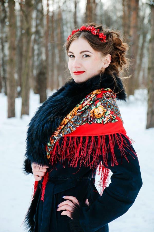 Χειμερινό portreit χαμογελώντας κορίτσι με την όμορφη τρίχα στο κεφάλι της στο ρωσικό λαϊκό ύφος στα κόκκινα σάλια στοκ εικόνες