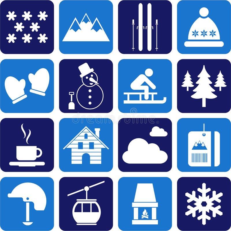 Χειμώνας/αλπικά/εικονογράμματα σκι διανυσματική απεικόνιση