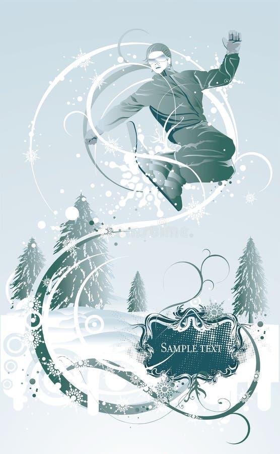 χειμώνας ανασκόπησης snowboarder διανυσματική απεικόνιση
