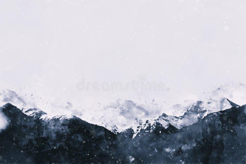 χειμώνας βουνών τοπίων ελεύθερη απεικόνιση δικαιώματος