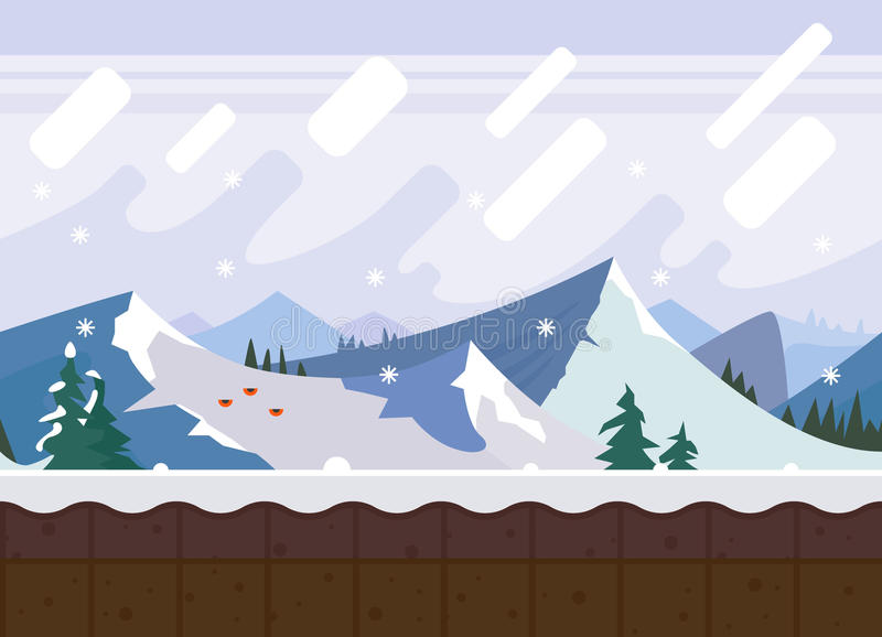 χειμώνας βουνών gudauri Καύκασου Γεωργία διανυσματική απεικόνιση