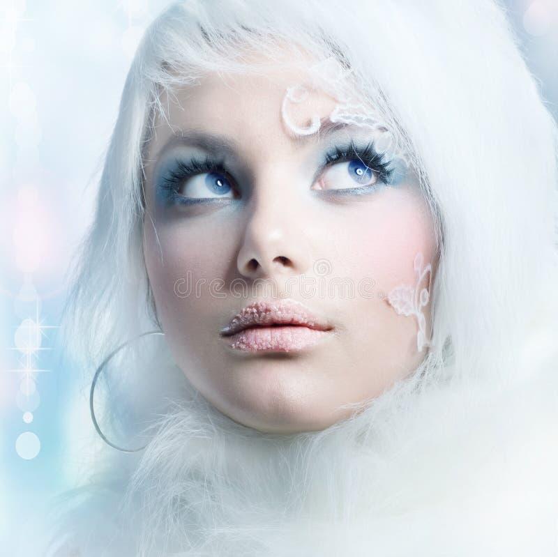 χειμώνας διακοπών makeup στοκ φωτογραφία