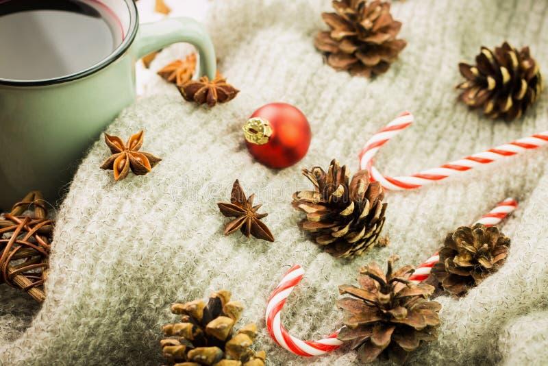 Χειμώνας και νέο θέμα έτους Καυτό βράζοντας στον ατμό φλυτζάνι Χριστουγέννων glint του κρασιού με τα καρυκεύματα, γλυκάνισο, κώνο στοκ φωτογραφία με δικαίωμα ελεύθερης χρήσης