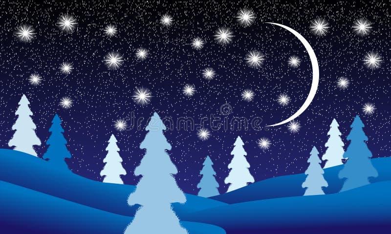 χειμώνας νύχτας τοπίων απεικόνιση αποθεμάτων