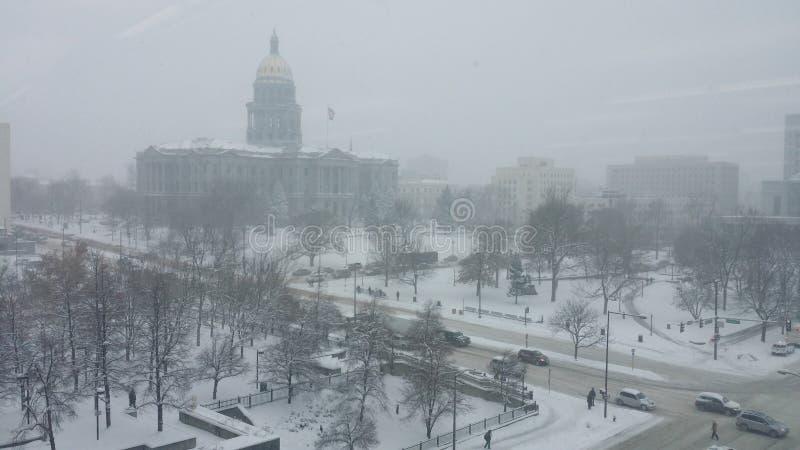 Χειμώνας 2016 οικοδόμησης του Ντένβερ Capitol στοκ φωτογραφία με δικαίωμα ελεύθερης χρήσης
