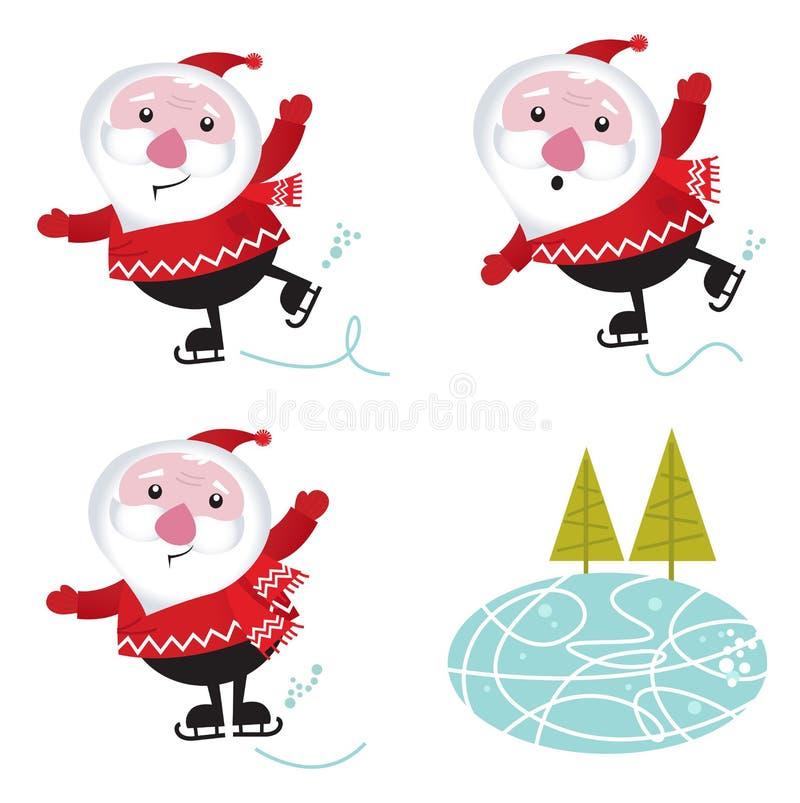 χειμώνας πατινάζ santa πάγου Claus Χ&rh διανυσματική απεικόνιση