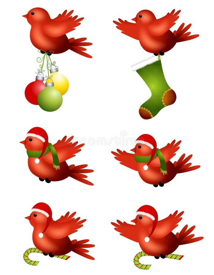 χειμώνας πετάγματος Χριστουγέννων πουλιών διανυσματική απεικόνιση