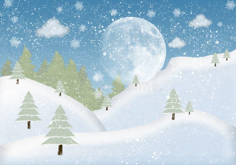 Χειμώνας πλαισίων φωτογραφιών με το έλατο και το χιόνι απεικόνιση αποθεμάτων