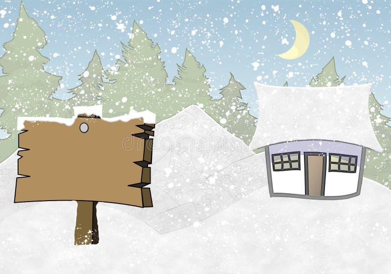 Χειμώνας πλαισίων φωτογραφιών με το έλατο και το χιόνι ελεύθερη απεικόνιση δικαιώματος