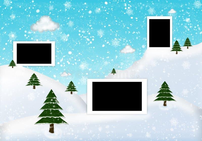Χειμώνας πλαισίων φωτογραφιών με το έλατο και το χιόνι διανυσματική απεικόνιση