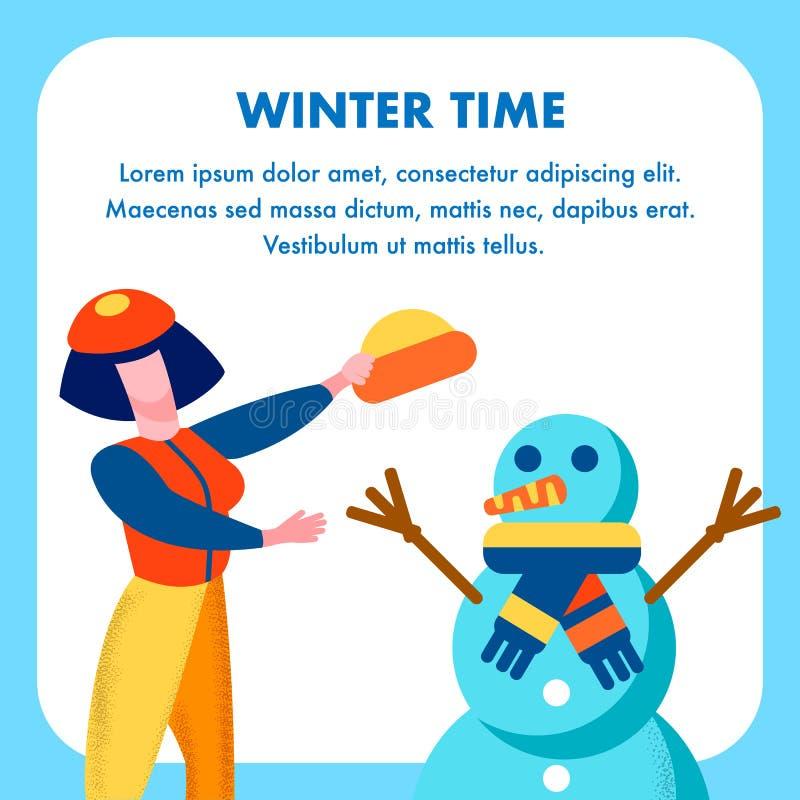 Χειμώνας που χαιρετά την επίπεδη κάρτα στο σχέδιο κινούμενων σχεδίων ελεύθερη απεικόνιση δικαιώματος