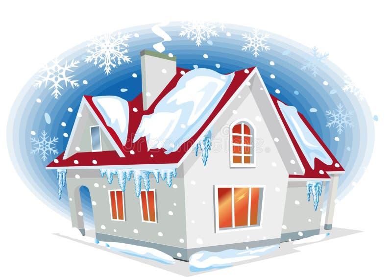 χειμώνας σπιτιών διανυσματική απεικόνιση