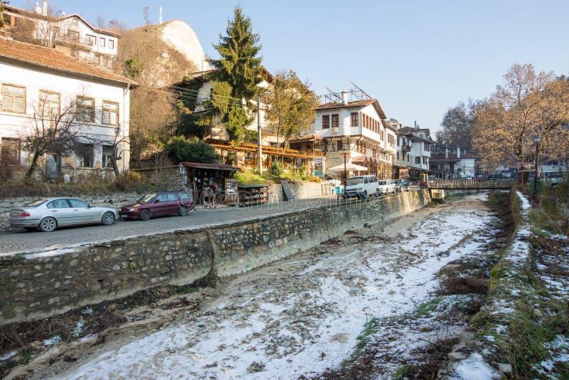 Χειμώνας στη μικρότερη πόλη στη Βουλγαρία - το Μελένικο στοκ εικόνες