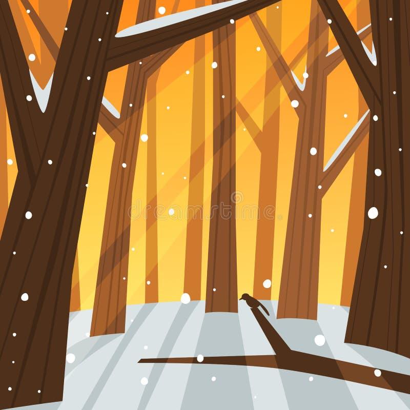 Χειμώνας στο δάσος διανυσματική απεικόνιση