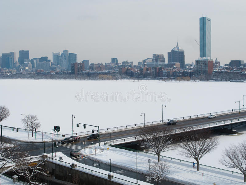 Χειμώνας της Βοστώνης Charles River στοκ φωτογραφίες