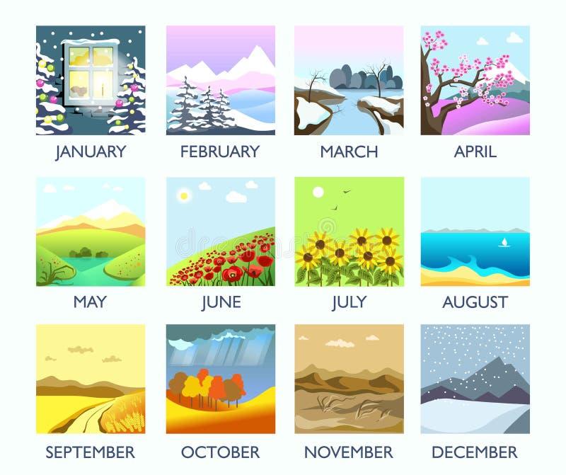 Χειμώνας τοπίων φύσης μήνα τεσσάρων εποχών, καλοκαίρι, φθινόπωρο, διανυσματικό επίπεδο τοπίο άνοιξης απεικόνιση αποθεμάτων