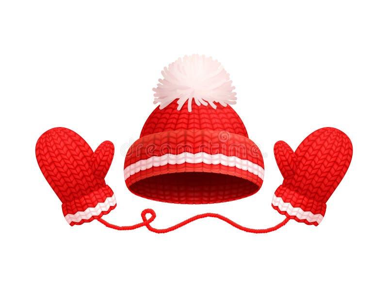 Χειμώνας το θερμό Red Hat, άσπρο Pom-pom, πλεκτά γάντια ελεύθερη απεικόνιση δικαιώματος