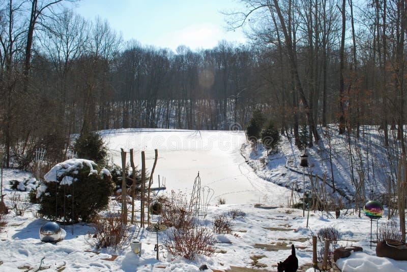 Χειμώνας φυσικός με ένα ρεύμα, άγονα δέντρα, και ένα χιόνι στοκ εικόνα με δικαίωμα ελεύθερης χρήσης
