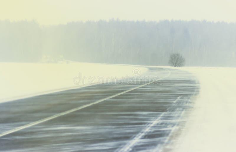 Χειμώνας Χειμερινός δρόμος χιονοθυελλών χιονοθύελλας ενός χιονώδους τοπίου Στο δρόμο δεν υπάρχει κανένα αυτοκίνητο στοκ εικόνες