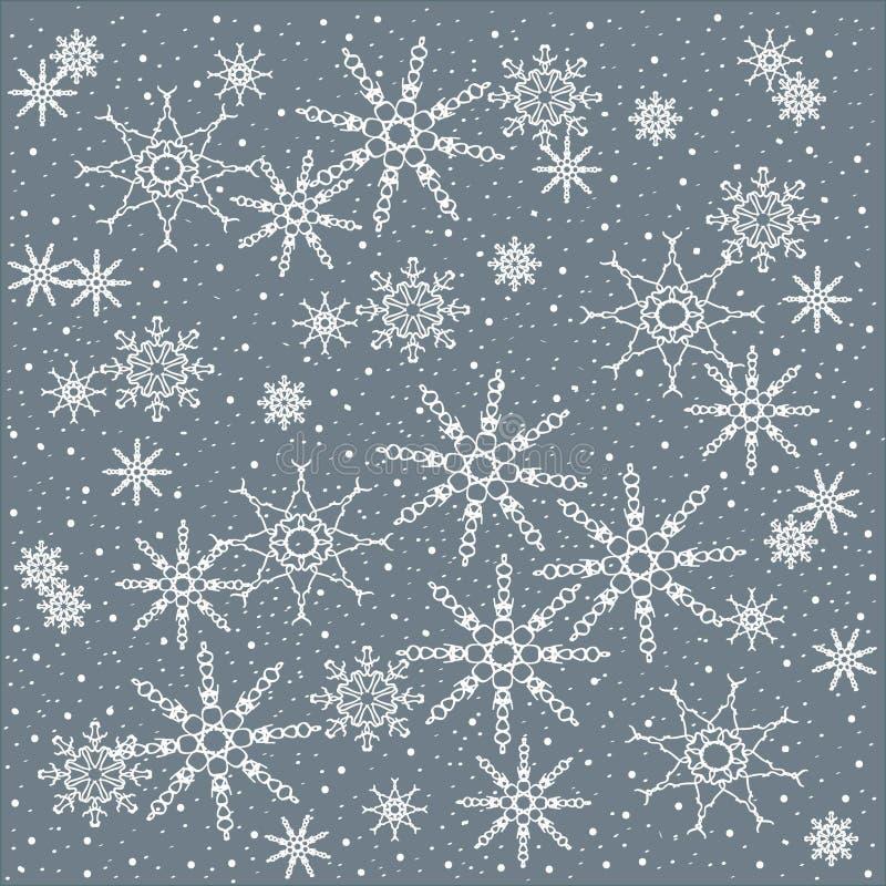 Χειμώνας, Χριστούγεννα, υπόβαθρο Χριστουγέννων άσπρα snowflakes σε ένα μπλε κρητιδογραφιών διανυσματική απεικόνιση
