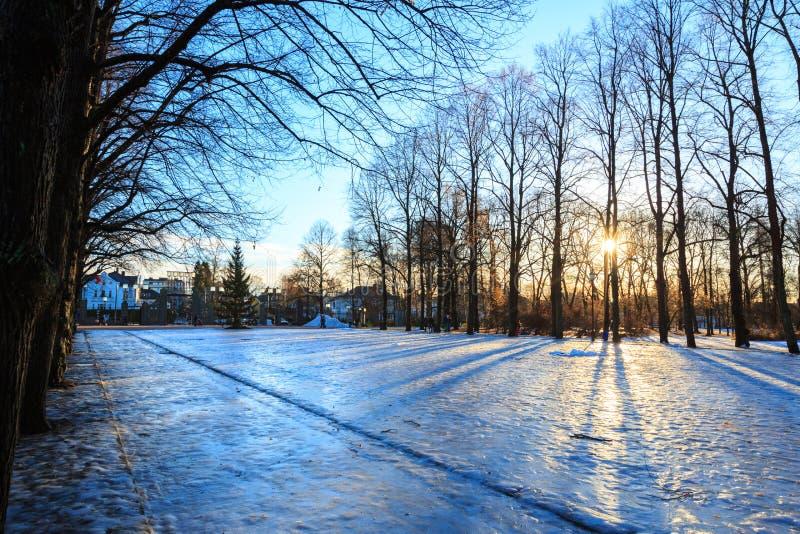 Χειμώνας Όσλο Νορβηγία πάρκων Vigeland στοκ εικόνες