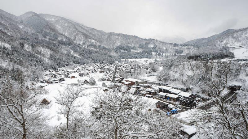 Χειμώνας Shirakawago με τις χιονοπτώσεις Γκιφού Chubu Ιαπωνία στοκ φωτογραφίες