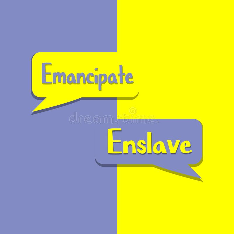 Χειραφετήστε ή υποδουλώστε στη λέξη στην εκπαίδευση, την έμπνευση και το επιχειρησιακό κίνητρο διανυσματική απεικόνιση