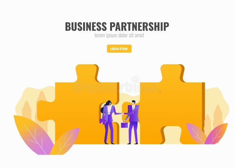 Χειραψία δύο επιχειρηματιών με το γρίφο στο υπόβαθρο διάδρομος διανυσματική απεικόνιση
