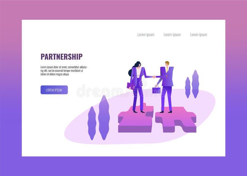 Χειραψία δύο επιχειρηματιών στο γρίφο ελεύθερη απεικόνιση δικαιώματος