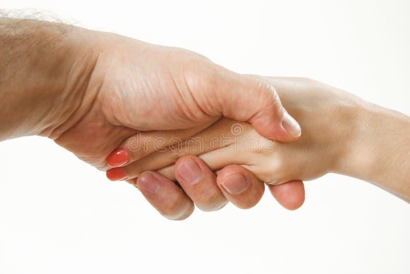 Χειραψία ενός άνδρα και μιας γυναίκας χέρια χωρίς ενδύματα στοκ φωτογραφίες με δικαίωμα ελεύθερης χρήσης