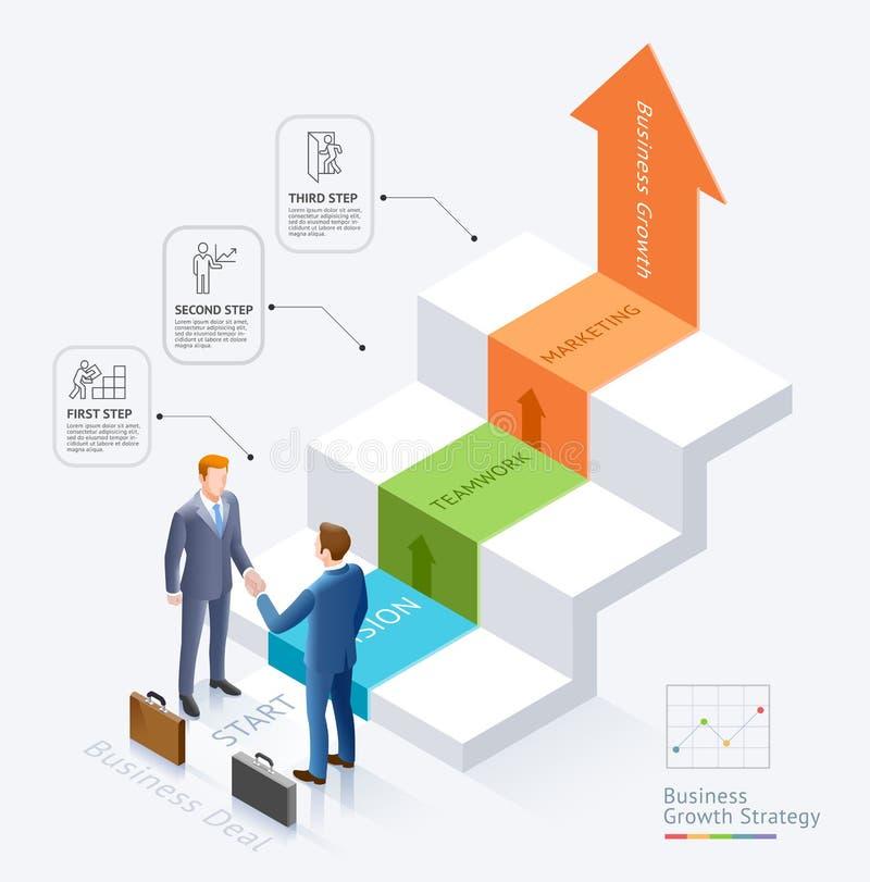 Χειραψία επιχειρηματιών μαζί μπροστά από τα σκαλοπάτια με το διάγραμμα infographics βελών απεικόνιση αποθεμάτων