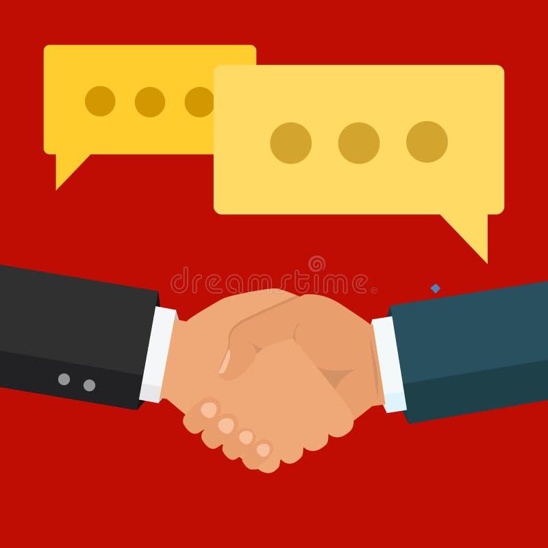 Χειραψία, επιχειρησιακή συνεργασία Σύμβολο της διαπραγμάτευσης επιτυχίας, ευτυχές β διανυσματική απεικόνιση