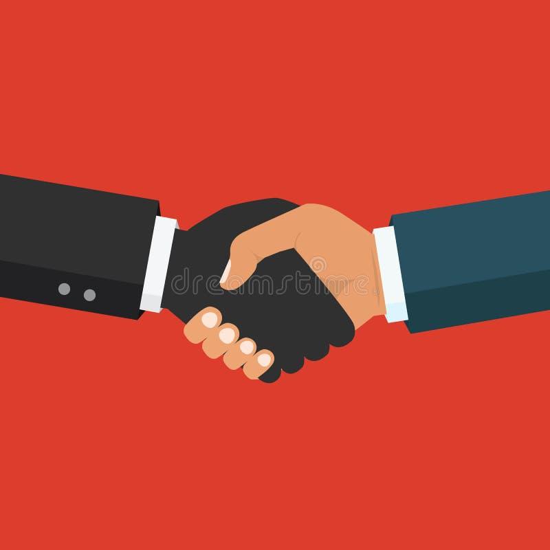 Χειραψία, επιχειρησιακή συνεργασία Σύμβολο της διαπραγμάτευσης επιτυχίας διανυσματική απεικόνιση