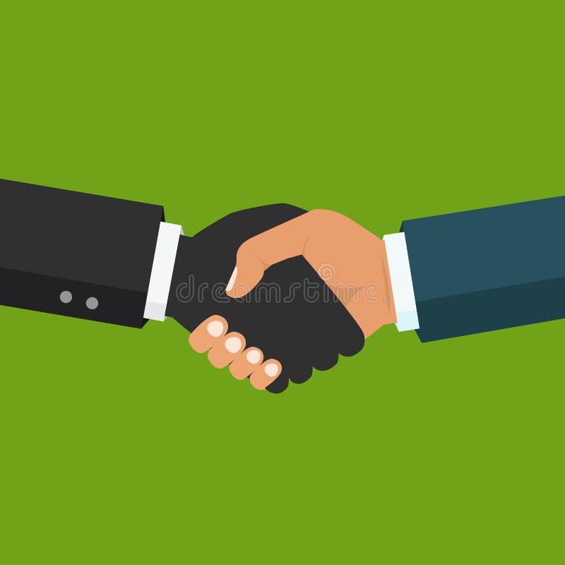 Χειραψία, επιχειρησιακή συνεργασία Σύμβολο της διαπραγμάτευσης επιτυχίας, ευτυχές β απεικόνιση αποθεμάτων