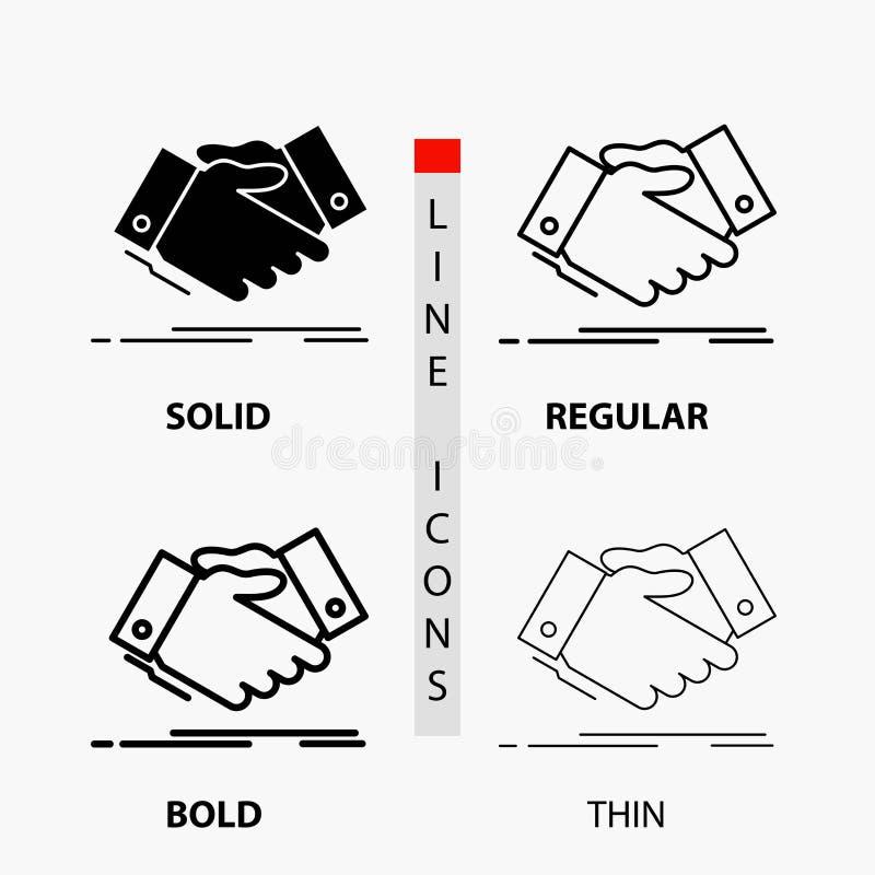 χειραψία, κούνημα χεριών, χέρι τινάγματος, συμφωνία, επιχειρησιακό εικονίδιο στη λεπτά, κανονικά, τολμηρά γραμμή και το ύφος Glyp απεικόνιση αποθεμάτων