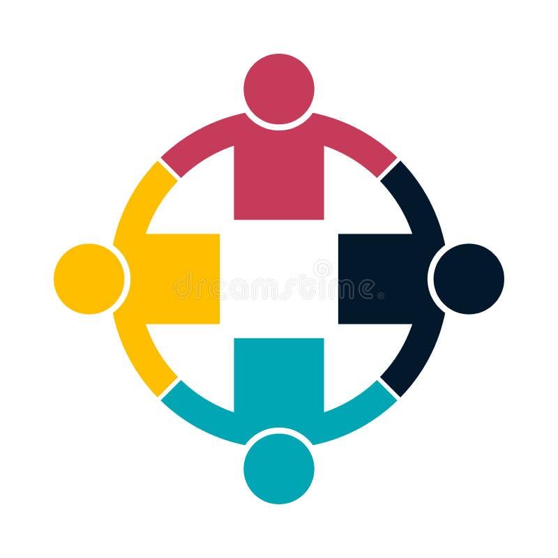 Χειραψία λογότυπων ανθρώπων ομάδας σε έναν κύκλο, εικονίδιο ομαδικής εργασίας χαρακτηρών κινουμένων σχεδίων πέννες μολυβιών εικον ελεύθερη απεικόνιση δικαιώματος