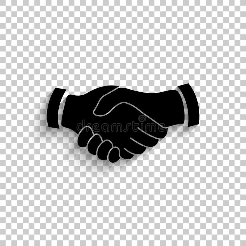 Χειραψία - μαύρο διανυσματικό εικονίδιο απεικόνιση αποθεμάτων