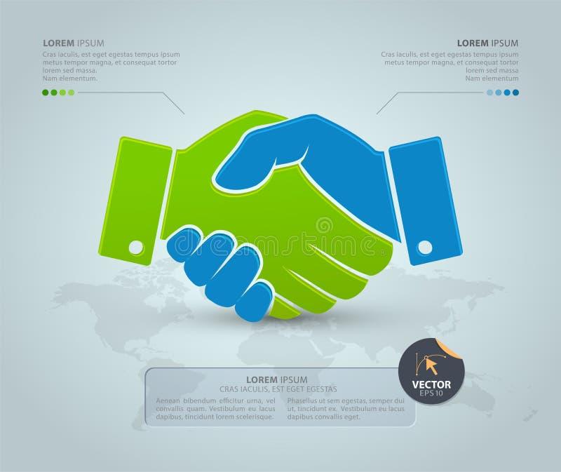 Χειραψία με τον παγκόσμιο χάρτη στο γκρίζο υπόβαθρο Διανυσματικό infographic πρότυπο διανυσματική απεικόνιση