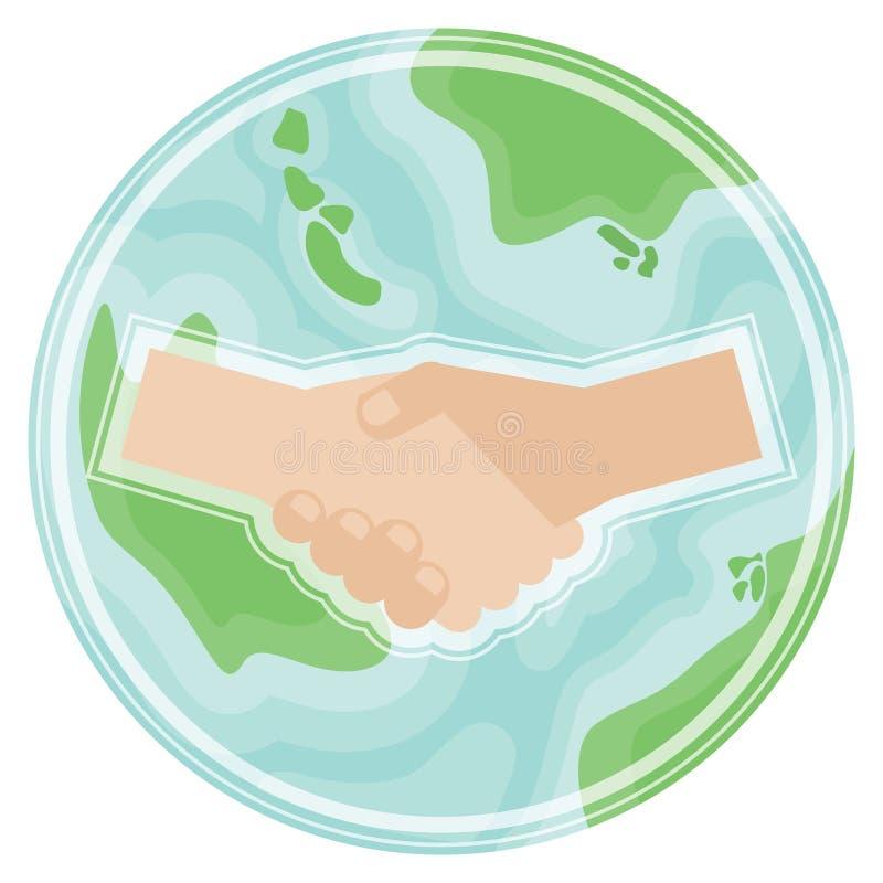 Χειραψία στο πλανήτη Γη στο επίπεδο ύφος Σύμβολο της παγκόσμιας ειρήνης, σφαιρική συμφωνία, διεθνής συνεργασία απεικόνιση αποθεμάτων