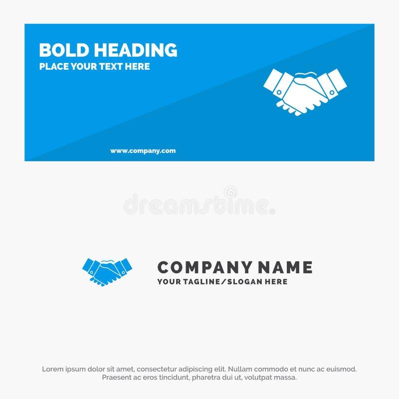 Χειραψία, συμφωνία, επιχείρηση, χέρια, συνεργάτες, στερεά έμβλημα ιστοχώρου εικονιδίων συνεργασίας και πρότυπο επιχειρησιακών λογ ελεύθερη απεικόνιση δικαιώματος