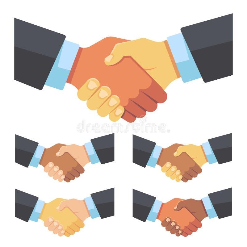 Χειραψία των επιχειρηματιών των διαφορετικών φυλών Επιχειρησιακή ομάδα, συμφωνία και διανυσματική επίπεδη έννοια μεγάλης υπόθεσης απεικόνιση αποθεμάτων
