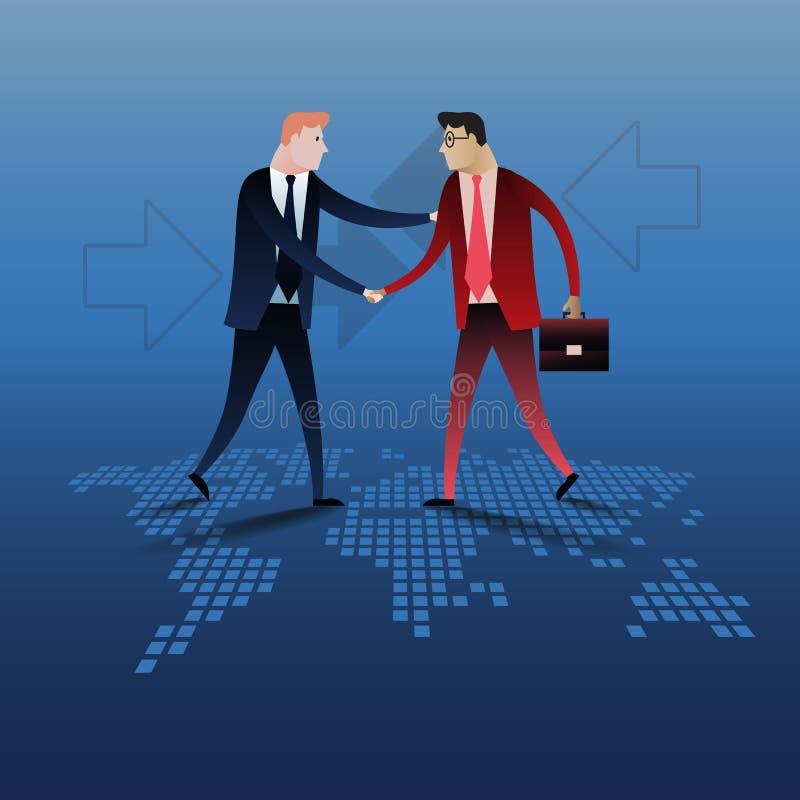 Χειραψία δύο επιχειρηματιών με το υπόβαθρο παγκόσμιων χαρτών ελεύθερη απεικόνιση δικαιώματος
